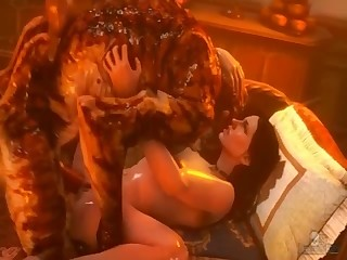 Cute demon fucks with a slender hottie on the couch