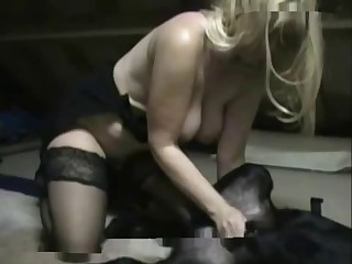 Awesome blonde sucks a huge doggy penis on the knees